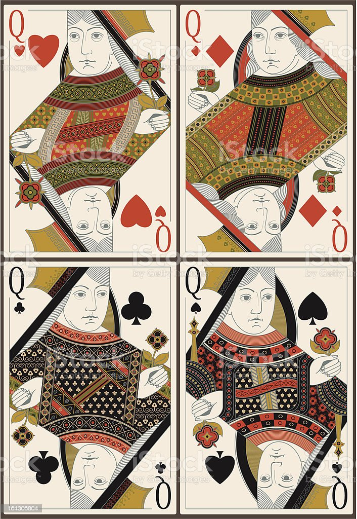 playing cards- queens - vector vector art illustration