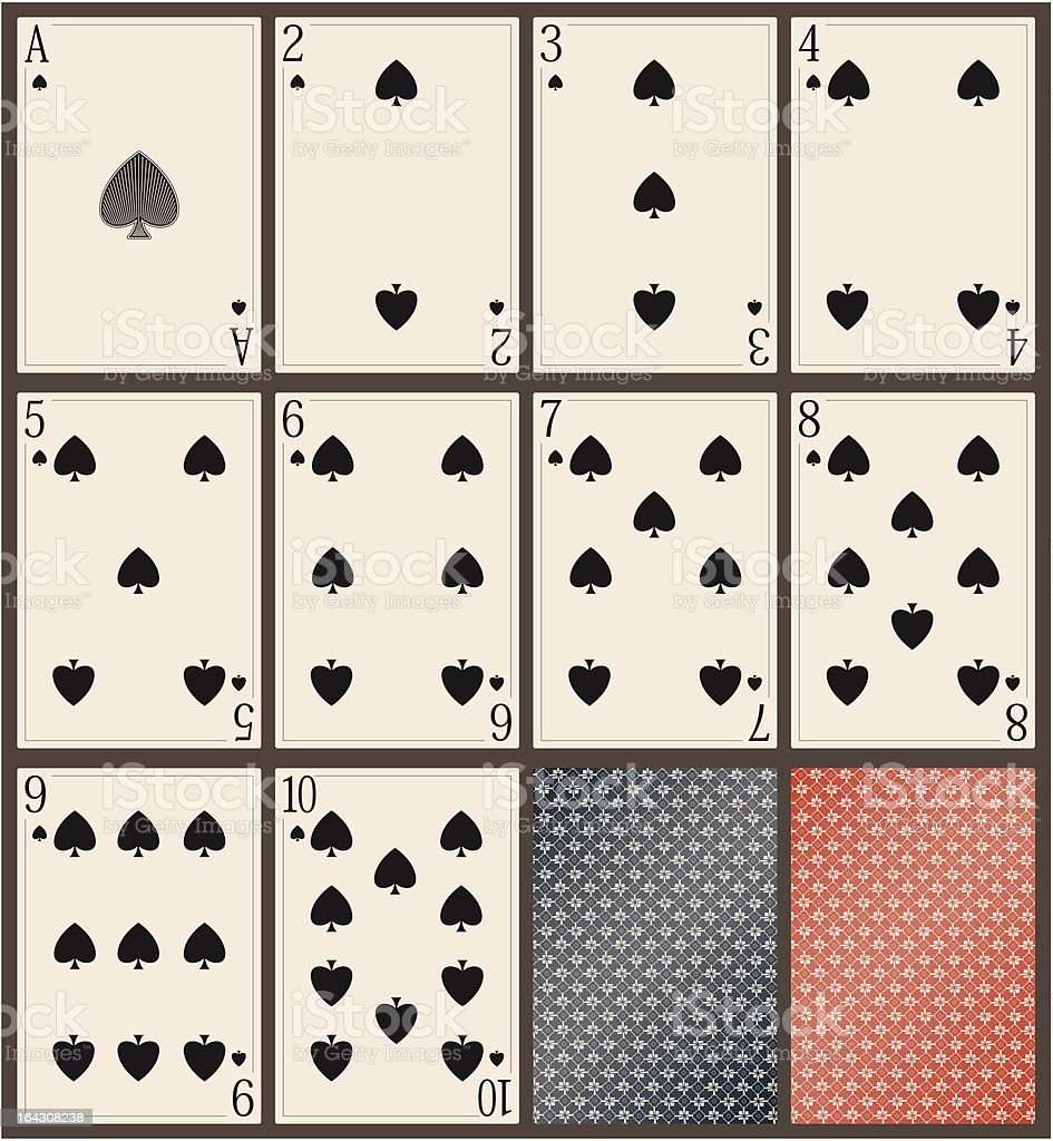 playing cards- spades - vector vector art illustration