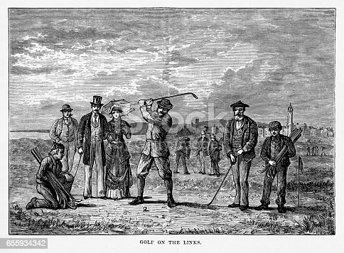 Very Rare, Beautifully Illustrated Antique Engraving of Playing the Links in St. Andrew's, Scotland Victorian Engraving, 1840. Source: Original edition from my own archives. Copyright has expired on this artwork. Digitally restored.