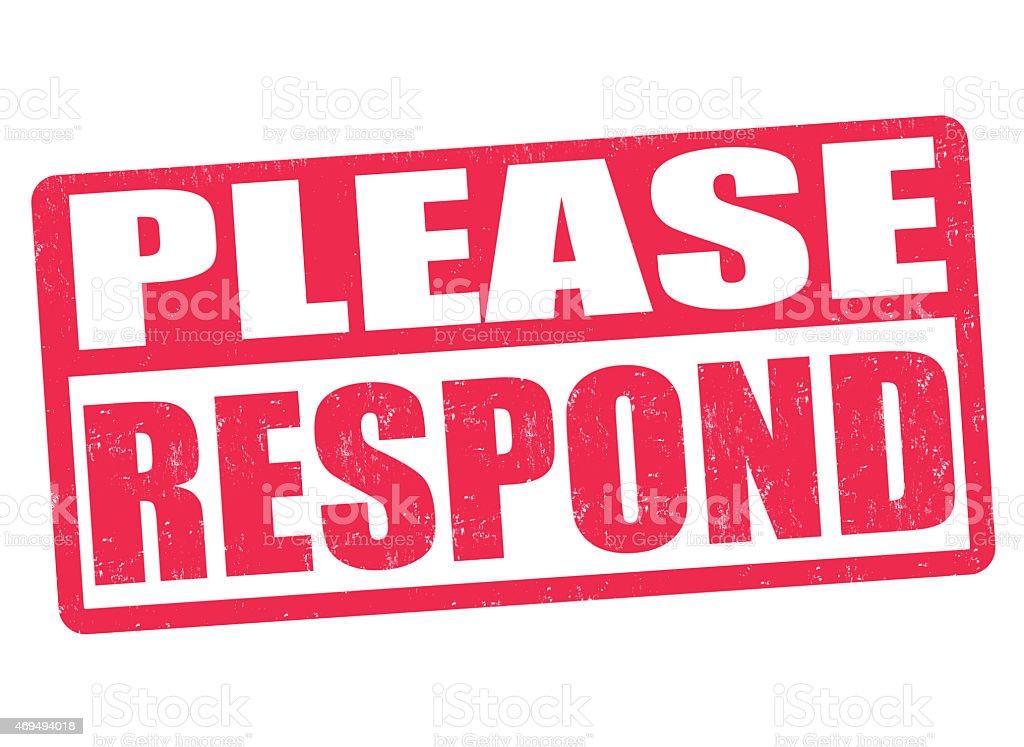 Please Respond stamp vector art illustration