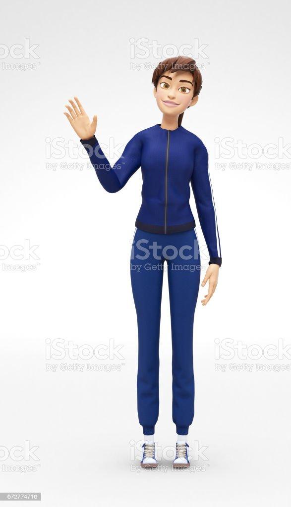 Memnun, gülümseyen Jenny - 3D çizgi film kadın karakter spor modeli - Merhaba, atletik spor eşofman dalgalar vektör sanat illüstrasyonu