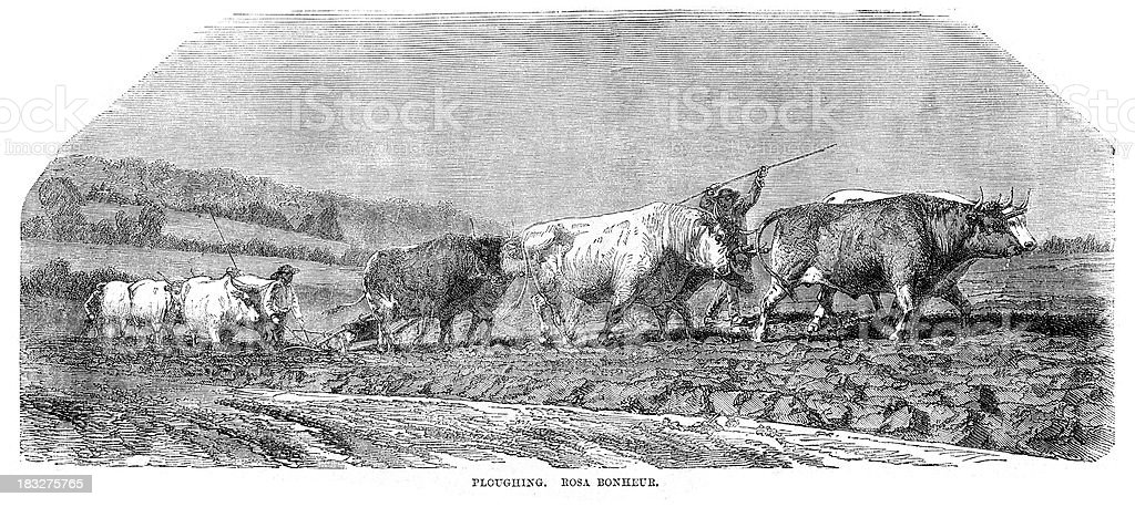 Ploughing the Field royalty-free stock vector art
