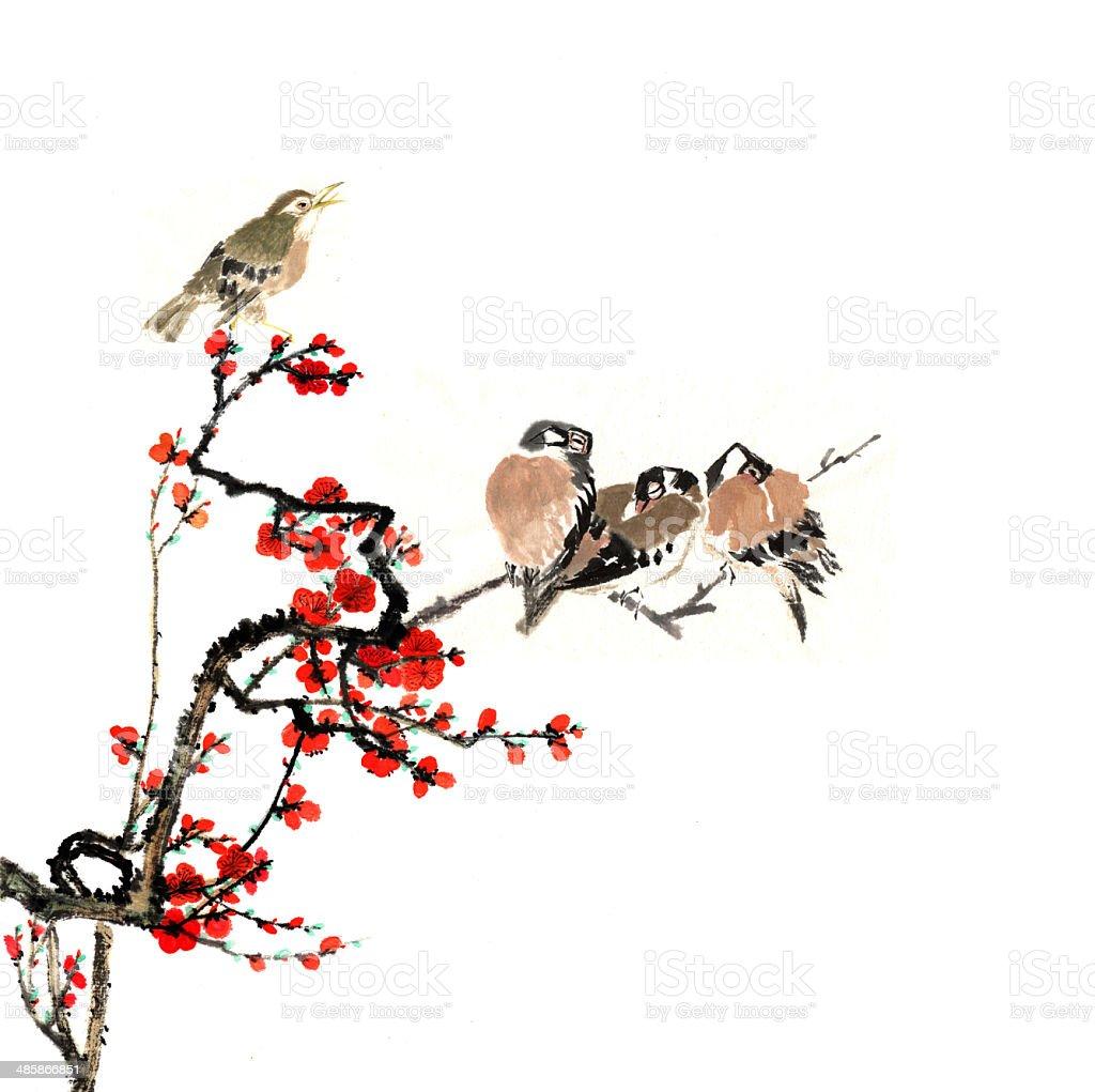 梅の花や動物 のイラスト素材 485866851   istock