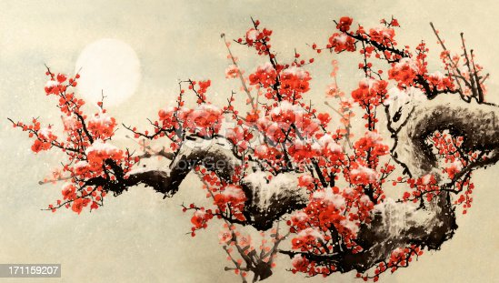 Chinese traditional painting, plum blossom flowers and tree with moon.