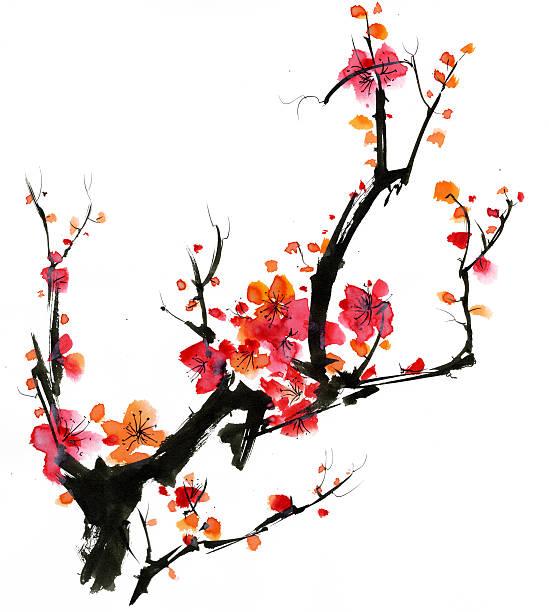 Plum Blossom watercolor painting peach blossom stock illustrations