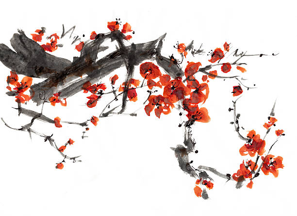 Plum blossom Plum blossom painting plum blossom stock illustrations