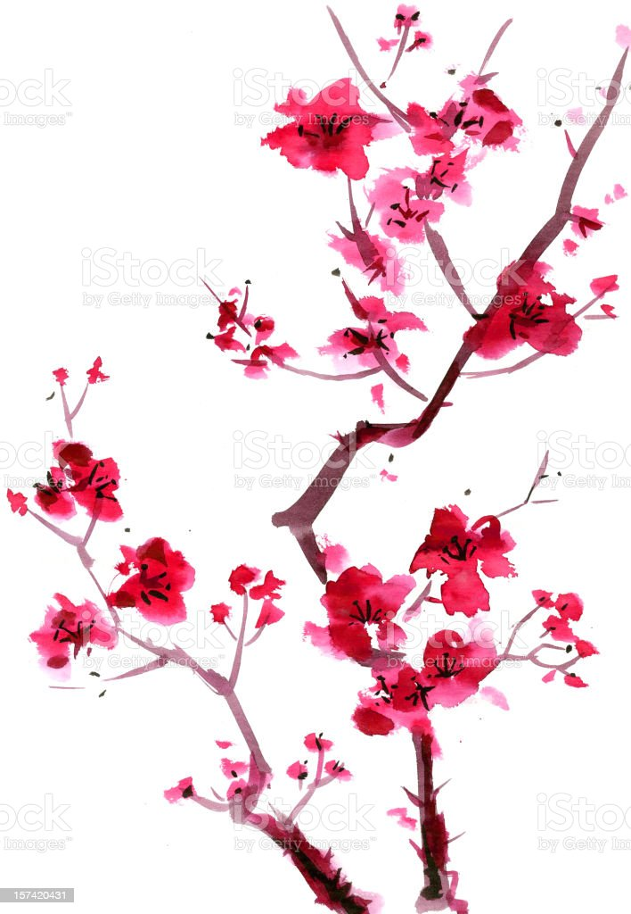 Plum blossom painting vector art illustration