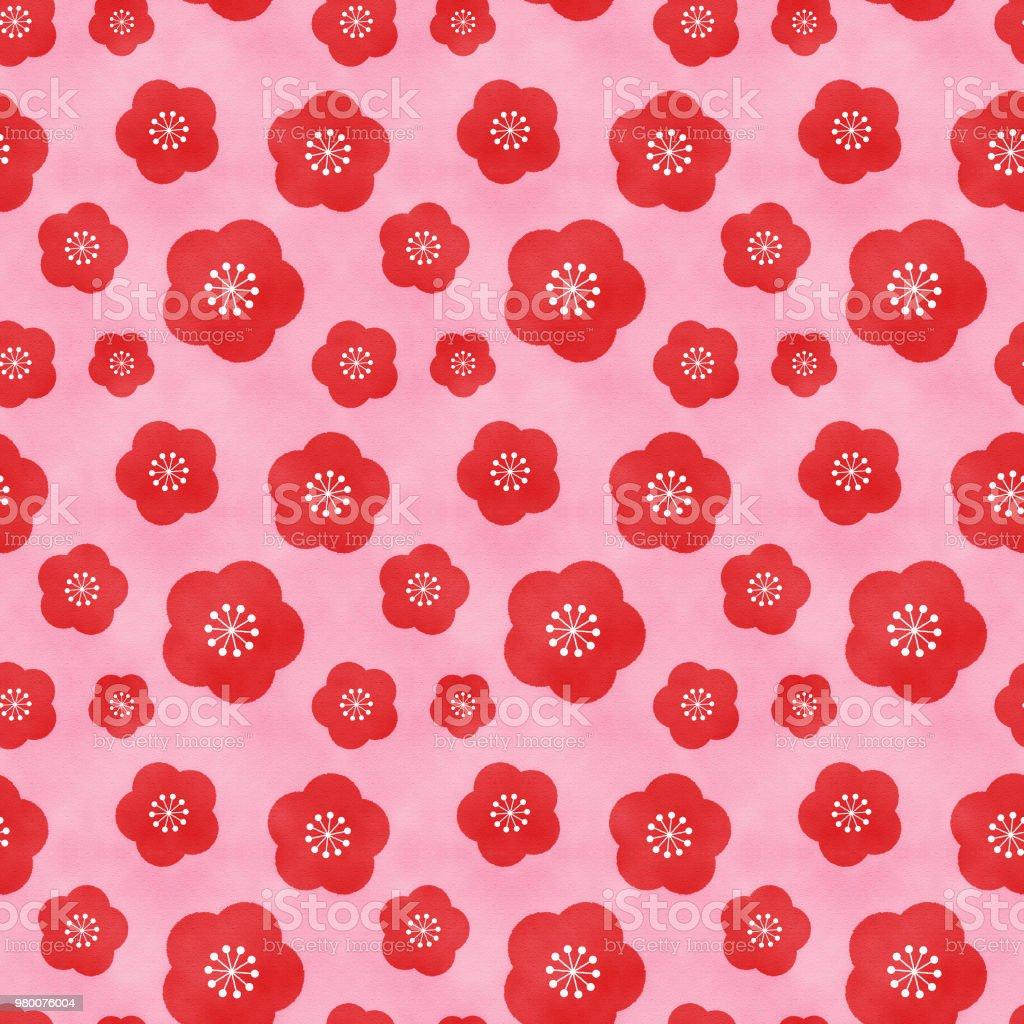 Plum seamless pattern(pink) vector art illustration