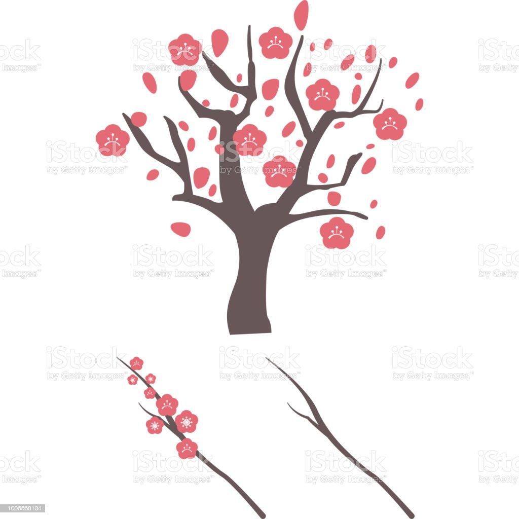 梅の木の部分 ベクターアートイラスト