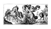 Pluto carries Proserpine off (antique engraving)