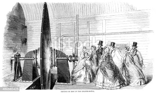 Vintage engraving showing a Pneumatic latter and parcel conveyance, Section of Disc in the Engine House,  at Battersea, London, 1861