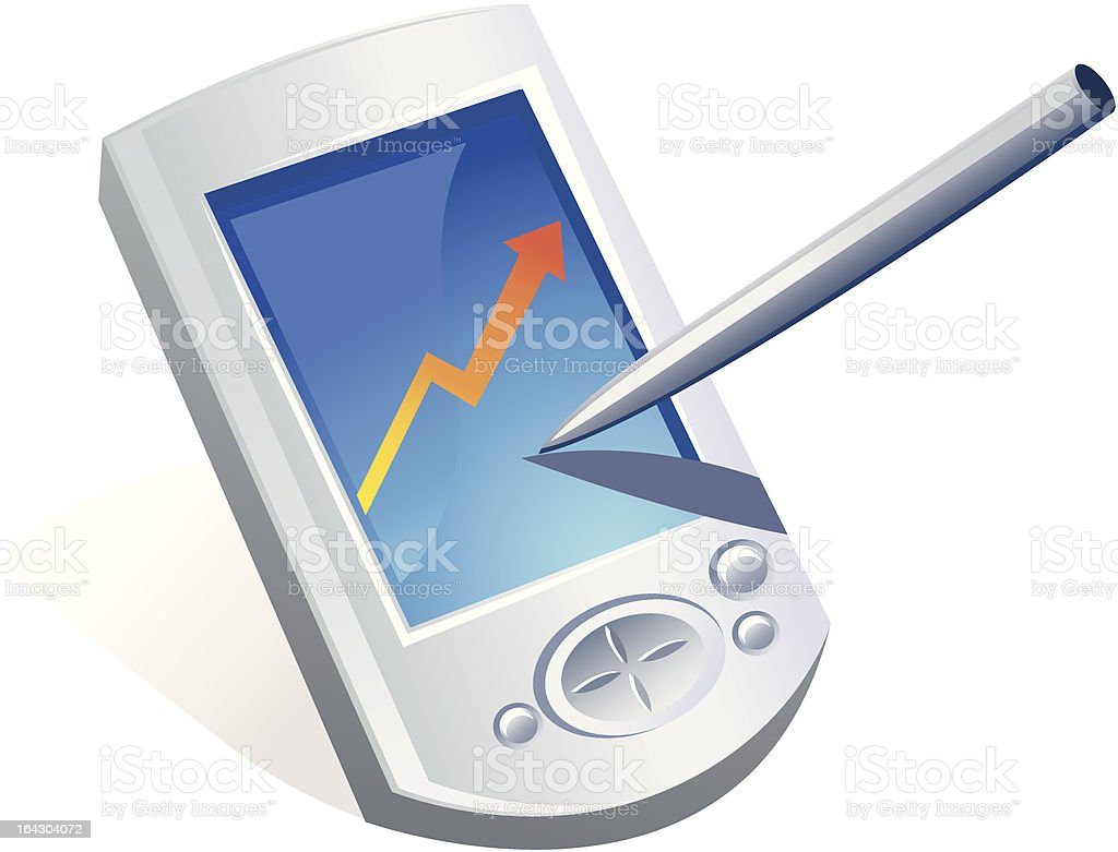 Pocket PC and pen royalty-free pocket pc and pen stock vector art & more images of arrow symbol
