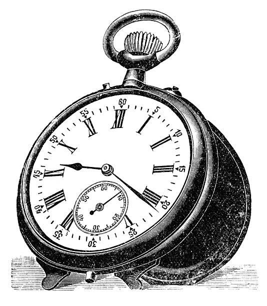 pocket watch vector art illustration