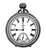 Pocket Watch. Line illustration with colour, shiny with a clear face, traditional style.