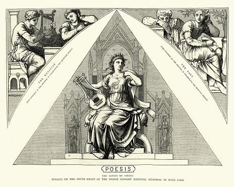 Poesis, The Genius of Poetry, 19th century engraving