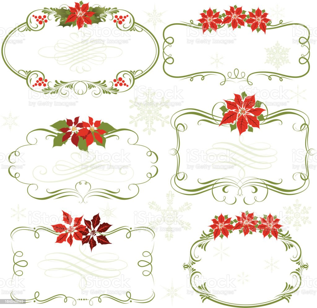 Poinsettia frames royalty-free stock vector art