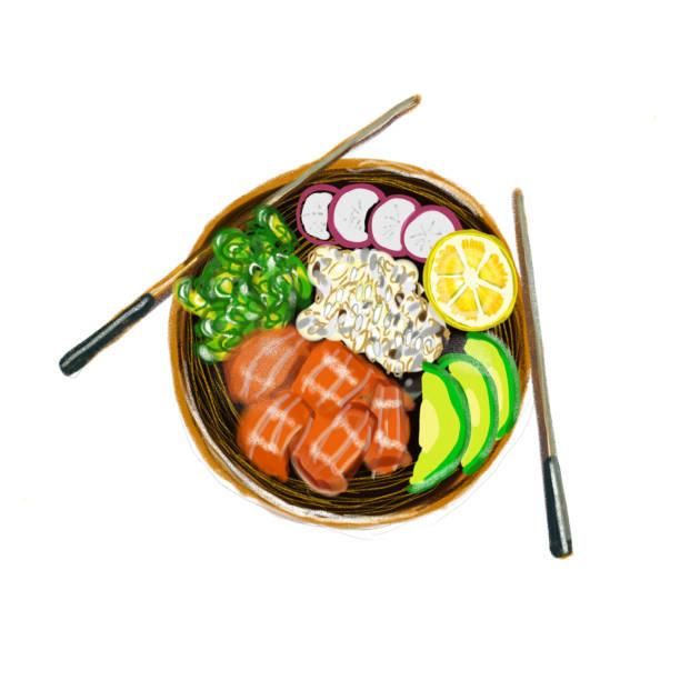 ボウル ハワイ料理レストラン自然を突く - ポキ点のイラスト素材/クリップアート素材/マンガ素材/アイコン素材