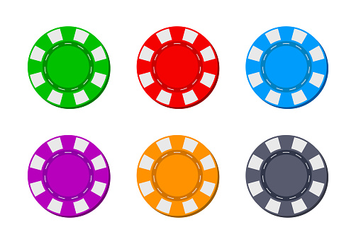 Poker chip for casino. Blackjack icon. Token for gambling. Logos isolated for game. Coins from Las Vegas for roulette. Bet in casino. Chips for entertainment in front on white background. Vector
