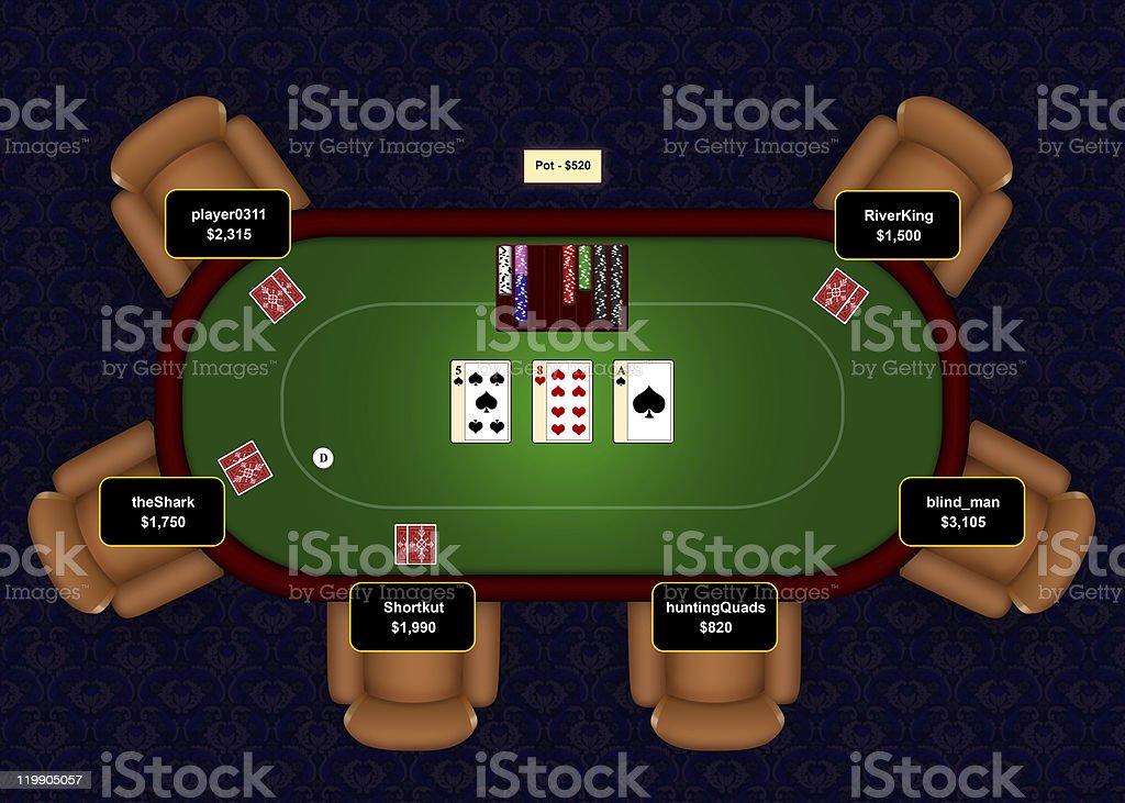 Poker Online Flop vector art illustration