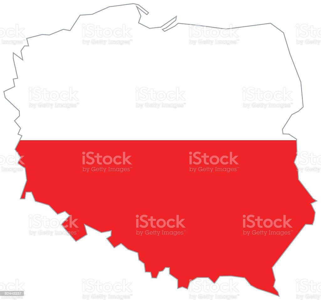 Poland Map with Polish flag royalty-free stock vector art