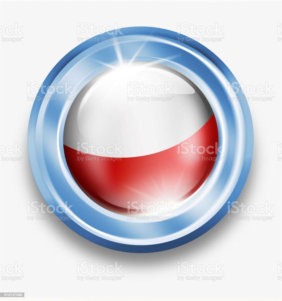 Bouton de Pologne argent avec drapeau polonais isolé sur blanc - Illustration vectorielle
