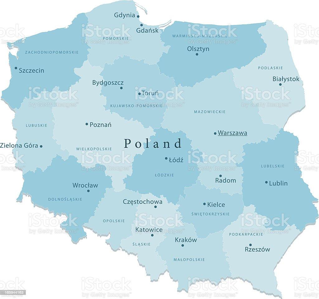 Polska Wektor Mapa Regionów Puste Stockowe Grafiki Wektorowe I