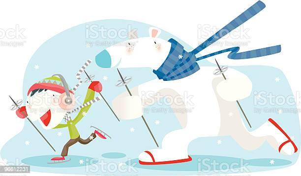 Полярный Медведь И Маленький Мальчик На Лыжах На Снежный — стоковая векторная графика и другие изображения на тему Белый