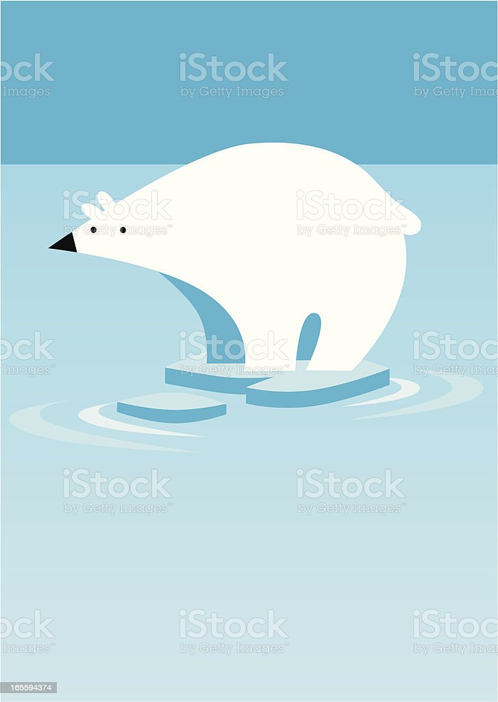 Polar Bear on Ice royalty-free stock vector art