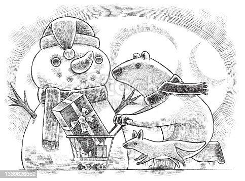 istock polar bear pushing shopping cart with wolf drawing 1339626552