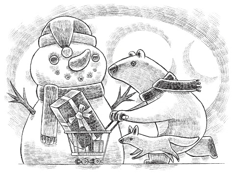digital painting / raster illustration of polar bear pushing shopping cart and running with wolf