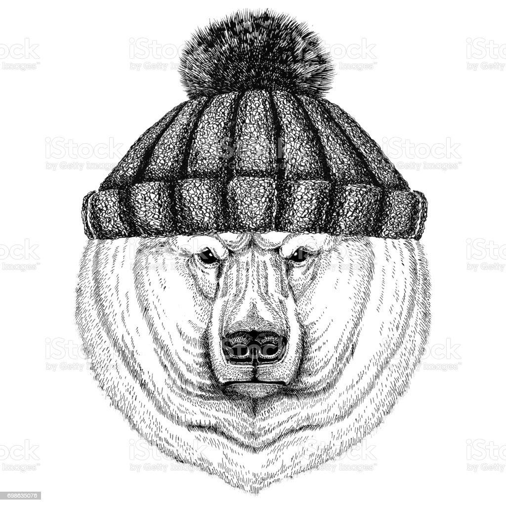 Ilustración de Oso Polar Con Invierno Sombrero Hecho Punto y más ...
