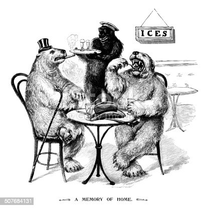 """A strange scenario with two homesick polar bears eating ice creams, which are being served by a gleeful-looking gorilla. From """"The Children's Friend - A Monthly Magazine for Boys & Girls"""" - bound volume XXXIX, Jan-Dec 1899; published by S.W. Partridge & Co., London."""