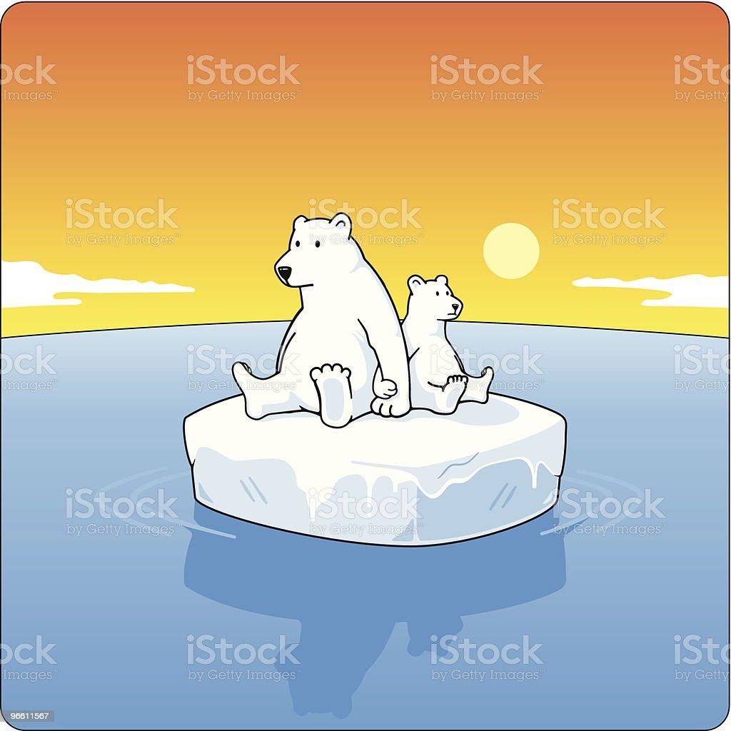 Polar Bears On Ice - Royaltyfri Björn vektorgrafik