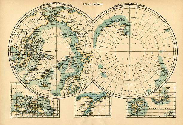 ilustraciones, imágenes clip art, dibujos animados e iconos de stock de mapa de las regiones polares - mapa de antártida