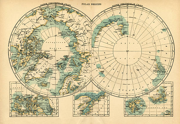 polar regions map - antarctica maps stock illustrations, clip art, cartoons, & icons