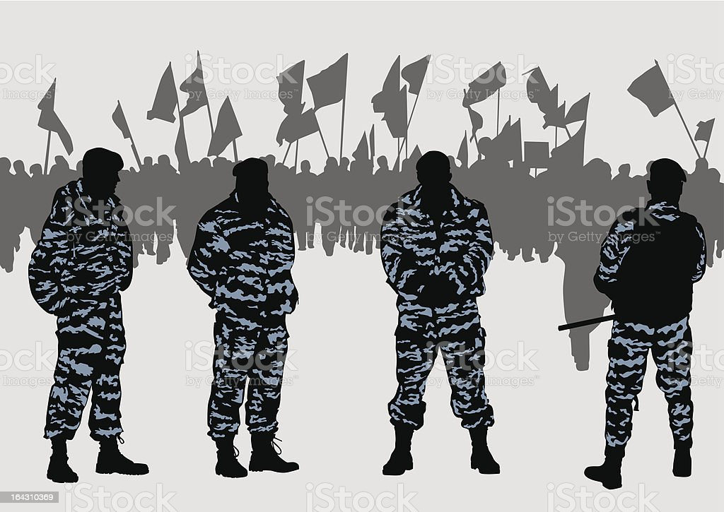 Police force and demonstrators royalty-free stock vector art