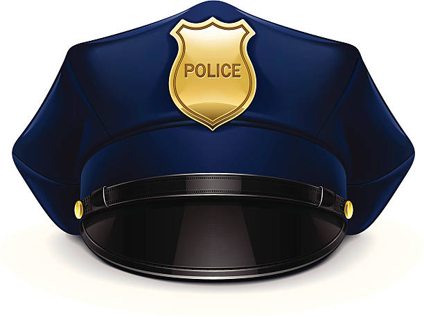 police cockade Bonnet avec revers - Illustration vectorielle