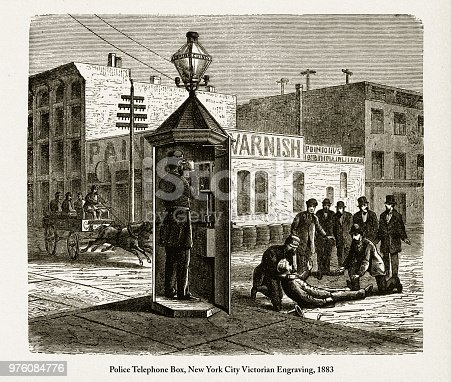 Police Telephone Box, New York City Victorian Engraving, 1883. Source: Original edition from my own archives. Copyright has expired on this artwork. Digitally restored.