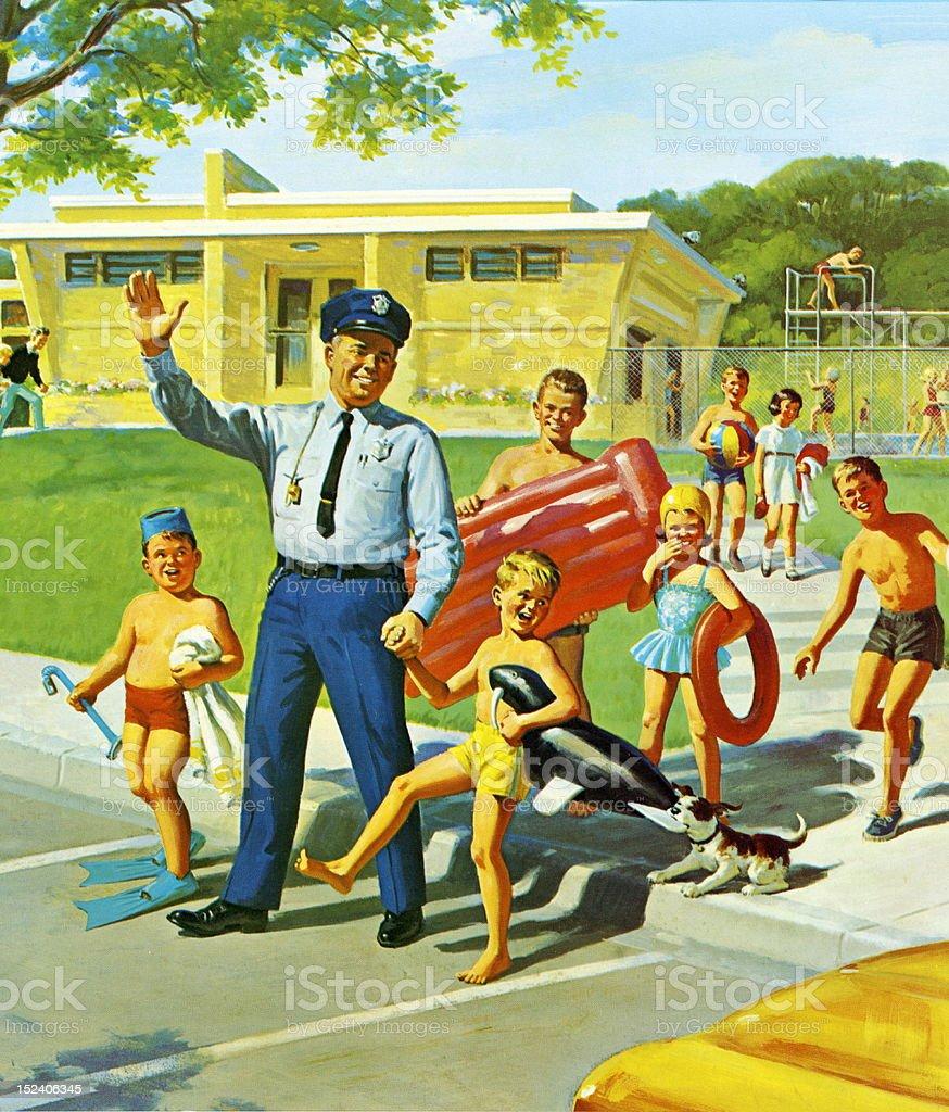 Policeman Escorting Children Across Street royalty-free stock vector art
