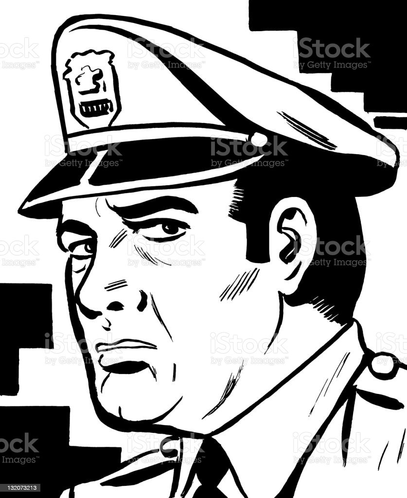 Policeman Looking to the Side royalty-free stock vector art