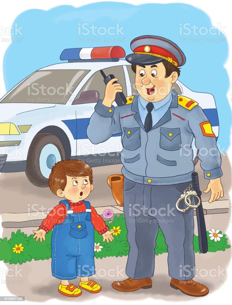 Bir Polis Meslek Cocuklar Icin Illustration Boyama Sayfasi Komik