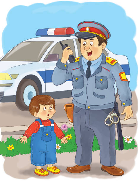 Royalty Free Police And Kids Clip Art, Vector Images & Illustrations ...