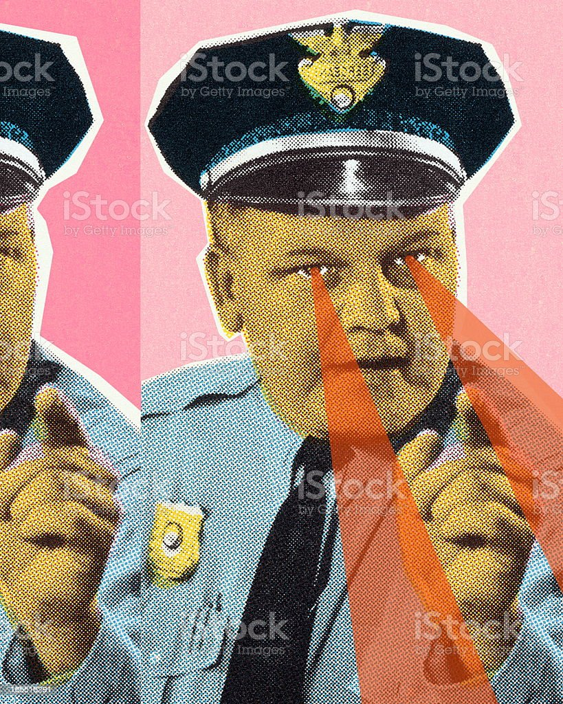 Policeman with Piercing Eyes vector art illustration