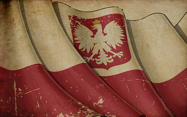 polish state flag old paper - polish flag stock illustrations, clip art, cartoons, & icons