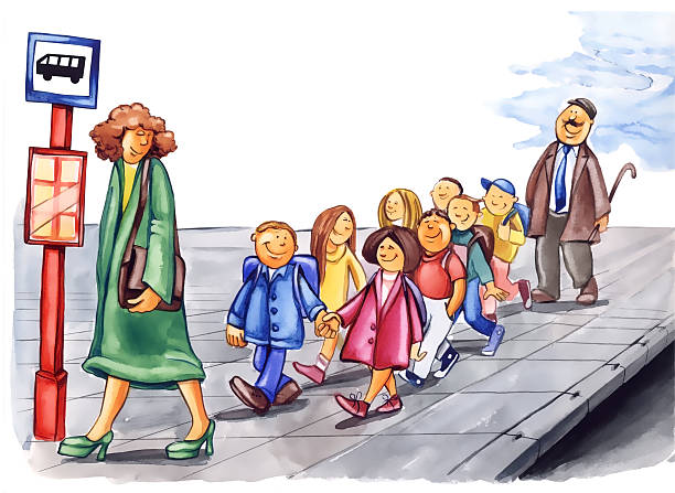 polite children on bus stop - old man funny pictures stock illustrations
