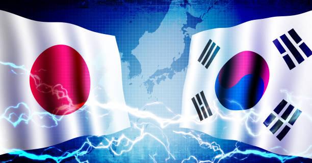 stockillustraties, clipart, cartoons en iconen met politieke confrontatie tussen japan en zuid-korea/web banner achtergrond illustratie - zuid korea
