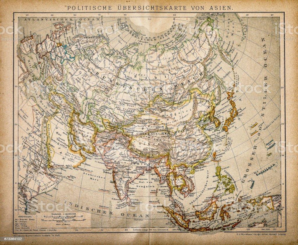 Political Map of Asia vector art illustration