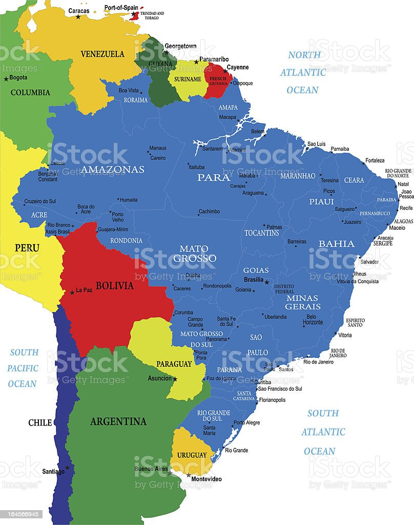 Political map of Brazil royalty-free political map of brazil stock vector art & more images of amazon rainforest