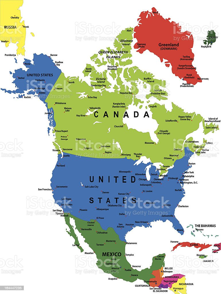 Political Map Of North America Stock Vector Art IStock - Los angeles map vector
