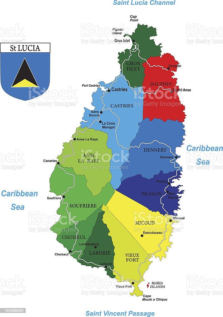 Political map of the caribbean island-Saint Lucia vector art illustration